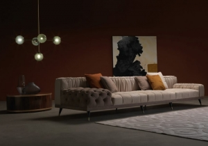 furniture: HIGHLANDER: SOFAS WITH STRUCTURE IN BEECH WOOD AND FOAM. UPHOLSTERY IN LEATHER OR FABRIC. FEET IN BLACK LACQUERED FINISHING. TIPS IN BRONZED WOOD. | ARCHONTIKIS-GIANFRANCO FERRE