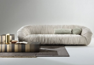 furniture: DRAPé IS A UNIQUE STYLE SOFA COVERED WITH LEATHER OR VELVET, AVAILABLE IN TWO DIFFERENT DIMENSIONS AND WITH MEMORY FOAM SEAT. | ARCHONTIKIS - LAURA MERONI