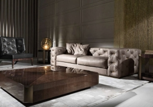 "furniture: ""TURNER SOFA"" SOFA WITH STRUCTURE IN POPLAR WOOD AND FOAM. UPHOLSTERY IN FABRIC OR LEATHER FROM THE COLLECTION WITH ARMS AND BACK IN CAPITONNé WITH METAL PLATES AVAILABLE IN ALL THE FINISHINGS FROM THE COLLECTION. BASE IN METAL AVAILABLE IN BRUSHED FINISH 