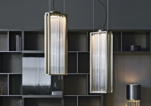 lighting: NUMA SUSPENSION: SUSPENDED LAMP WITH DIFFUSED LIGHT. DARK BURNISHED BRASS STRUCTURE. CRYSTAL, AMBER OR SMOKE GREY MURANO BLOWN GLASS TRIHEDRONS.  1X17W LED 1500LM 2700°K CRI90 – DIMMABLE - DIMENSIONS: 26 X 24 X H 62CM | ARCHONTIKIS - LAURA MERONI