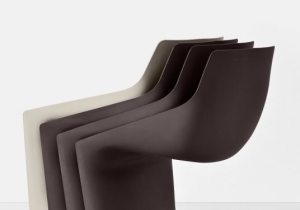 furniture: CHRISTOPH PILLET `PULP`STACKABLE CHAIR. FINISH: WHITE, BLACK, BEIGE, RED CORAL, BROWN POLYPROPYLENE.THIS CANTILEVER CHAIR IS A NEW DEVELOPMENT IN RECOGNIZABLE CONTEMPORARY DESIGN. 53 X 61 X H 85CM  SH: 46 CM | KRISTALIA