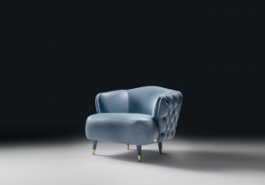 furniture: SAVOI ARMCHAIR: ARMCHAIR WITH STRUCTURE IN SOLID WOOD, WITH CROSSED ELASTIC BELT SPRING SYSTEM. PADDING IN HIGH-RESILIENCE EXPANDED POLYURETHANE IN DIFFERENT DENSITIES. TUFTED REAR BACK (OPTIONAL). FEET UPHOLSTERED WITH METAL GLIDES IN POLISHED GOLD FINI | ARCHONTIKIS - BLACKTIE