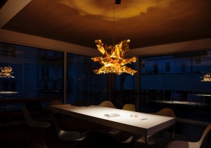 lighting: LICHTENFEST: THREE LAYERS OF SHEET METAL, FORMED TO A VOLUME. MULTIPLE LIGHT REFLEXION CAUSES AN INTENSE IMPRESSION. DIAMETER ABOUT 80CM OR 100 CM. | ARCHONTIKIS-LICHTLAUF