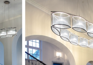lighting: STILIO OVAL: OVAL SHAPED STILIO PERFECTLY MIRRORS AND SEIZES ON THE ARCHITECTURE OF SUCH ROOMS - AND THE NICKEL-PLATED FINISHES OF THE CHANDELIERS ACCENTUATE STILIO'S EXCEPTIONAL ATTENTION TO DETAIL. | ARCHONTIKIS - LICHT IM RAUM