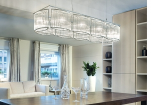 lighting: STILIO SQUARE: STILIO CHANDELIERS ARRANGED IN A SQUARE ORDER NOW IMPLEMENT THE IDEA OF TRADITIONAL LIGHTING IN THE MODERN INTERIOR: CLOSE TO THE CEILING AND FORMALLY MATCHING WITH THE ROOMS. | ARCHONTIKIS - LICHT IM RAUM