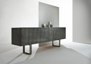 "furniture: BD 91""LIQUID METAL"" MAXIMA COLLECTIONWOODEN SIDEBOARD WITH CARVED DOORS AND SIDES COMPLETELY COVERED WITH ""LIQUID METAL"" FINISH AND WOODEN OR MARBLE UPPER TOP.200 X 50 X H 80 CM 