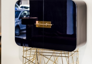 furniture: MAI TAI BY BLACK TIE: LIQUOR BAR WITH SUPPORTING STRUCTURE AND HANDLE IN POLISHED GOLD STAINLESS STEEL, HIGH GLOSS POLYESTER LACQUER FINISH WOOD CABINET. | ARCHONTIKIS - BLACKTIE