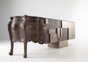 furniture: `EVOLUTION`DESIGN  FERRUCCIO LAVIANI.SIDEBOARD MADE COMBINING OLD AND MODERN WOODCRAFT.THE COMPLETE CABINET IS SANDBLASTED. 210 OR 270 OR 330 X 56 X H90CM | EMMEMOBILI