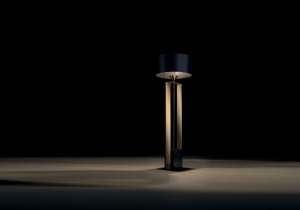 lighting: TOSCA: WOOD BASE DARK BLUE LACQUERED, METAL ELEMENTS POLISHED GOLD. DARK BLUE LAMPSHADE, INTERNAL BLACK COTONETTE. DIA: 30, H 172CM | ARCHONTIKIS - BLACKTIE