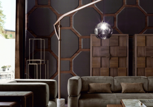 lighting: FLOOR LAMP SEVEN, MARMOR, WALNUT, BLOWN GLAS | ARCHONTIKIS - VOLPI
