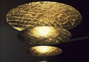 lighting: MACCHINA DELLA LUCE D. MADE OF DIFFUSER DISCS LINED WITH GOLD OR COPPER COLOURED LEAF (BRASS RODS) OR SILVER COLOURED LEAF.DISCS Ø 120 WITH FLYING LEAF, Ø 80 CM, 50 CM, 30 CM, 17 CM WITH FLAT LEAF. | CATELLANI-ARCHONTIKIS