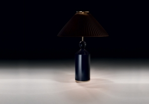 lighting: NADINE: TABLE LAMP FOR DIFFUSED OR DOWNWARD LIGHTING. WOOD BASE DARK BLUE LACQUERED, METAL ELEMENTS POLISHED GOLD. BROWN LAMPSHADE, INTERNAL BLACK COTONETTE.DIA: 46, H 60CM | ARCHONTIKIS - BLACKTIE