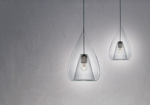 lighting: CUORE APERTO BLOWN BOROSILICATE GLASS LAMP, CHROMED-PAINTED METAL | ARCHONTIKIS - P.PRIVATA