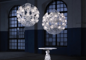 lighting: LE ROI SOLEIL CHANDELIER THIS MAJESTIC CHANDELIER, A CONTEMPORARY TWIST OF THE ICONIC ZéNITH CHANDELIER, IS REVEALED UNDER A NEW LIGHT THANKS TO ITS CURRENT AND TIMELESS SPHERICAL FIGURE. | ARCHONTIKIS-BACCARAT