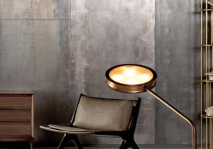 lighting: GLOW FLOOR LAMP WITH TUBULAR STEM AND LIGHT SHADE IN BURNISHED BRASS AND TEMPERED GLASS CM. L/W 45 - P/D 112 - H 110.    4 + 4  X MAX 30 W - E 14 | ARCHONTIKIS - CECCOTTI