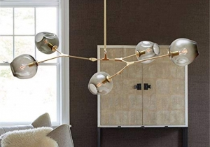 lighting: BRANCHING 5 GLOBES - GOLD METAL SMOKY GLASSES - L 150CM | ARCHONTIKIS - LINDSEY ADELMAN