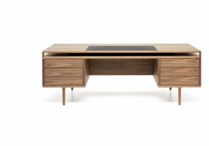 furniture: RIVE DROITE DESK, DESIGN CHRISTOPHE PILLET, SOLID AMERICAN WALNUT AND PLYWOOD, L 220CM, D 83CM, H 75CM | CECCOTTICOLLEZIONI