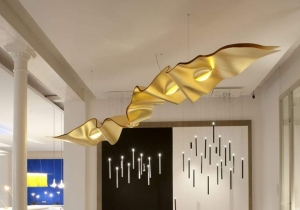 lighting: GOLDEN RIBBON CUSTOM MADE SCULPTURE LIGHT