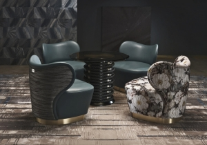 furniture: BAGLIONI: SPECIFICALLY CREATED FOR BAGLIONI HOTEL CARLTON, THIS COMPACT ARMCHAIR WITH A CHARMING DESIGN AND ESSENTIAL LINES FEATURES A METALLIC BASE IN SATIN BRASS AND TWO DIFFERENT UPHOLSTERY | ARCHONTIKIS-GIANFRANCO FERRE