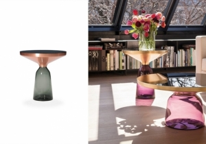 furniture: BELL TABLE COFFEE TABLE, SEBASTIAN HERKNER 2012HAND-BLOWN GLASS BASE IN CHOICE OF COLOURS. METAL TOP FRAME WITH ROUND TABLETOP OF PAINTED CRYSTAL GLASS. , | CLASSICON
