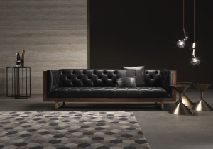 furniture: COLIN: 3-SEATER SOFA WITH STRUCTURE IN VENEERED ROSEWOOD. BASE IN BRONZED BRASS. | ARCHONTIKIS-GIANFRANCO FERRE