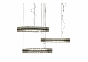 lighting: OBAN CHANDELIER WITH STRUCTURE IN METAL. CHROMED FINISHING WITH MOULDED GLASS ELEMENTS. | ARCHONTIKIS - GIANFRANCO FERRE HOME