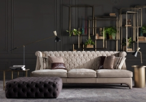 furniture: BRADMORE SOFA IS CHARACTERIZED BY A REFINED MANUFACTURING WITH A THIN BORDER WHICH STANDS OUT THE RHOMBUS PATTERN, IN CONTRAST TO THE HOMOGENEITY OF THE WIDE AND COMFORTABLE SITTING CUSHIONS. | ARCHONTIKIS-GIANFRANCO FERRE