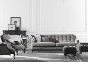 furniture: CLARK SOFA: A PERFECT MATCH BETWEEN VINTAGE CHARM AND CONTEMPORARY STYLE. A UNIQUE BASE ON WHICH ARE LOCATED THE MODERN CUSHIONS, ENRICHED BY THE CONTRAST PIPING IN TYPICAL GIANFRANCO FERRé STYLE. | ARCHONTIKIS-GIANFRANCO FERRE