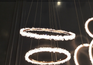 lighting: ECLIPSE- METAL BLACK OR COPPER AND CRYSTAL - LED WARM WHITE - D: 40,50,60,70,80,90,100,110CM | ARCHONTIKIS
