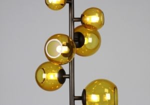 lighting: LAST NIGHT TOTEM, STRUCTURE IN DARK ANTIQUE BRONZE BRASS - BALLS IN TINTED BLOWN GLASS | POUENAT