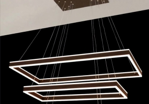 lighting: MODERN LCS 013 CHANDELIER ∅ 94X47 CM H. 50-150 CM ALUMINUM + ACRYLIC 132 W AVAILABLE COVERINGS: GOLD, CHROME, BRAUN, WHITE, BLACK | ARCHONTIKIS - JAGO