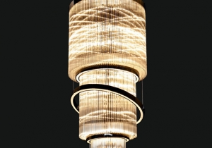 lighting: SATURN NCS 043/100 CHANDELIER ∅ 100 CM - H. 330 CM METAL + CRYSTAL 78*E14 + STRIP LED AVAILABLE COVERINGS: GOLD, CHROME, BRONZE | ARCHONTIKIS - JAGO