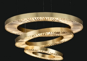 lighting: ORIONE NCS 194/3 CHANDELIER ∅ 120 CM - H. 70 CM + CAVI METAL + CRYSTAL LED STRIP AVAILABLE COVERINGS: GOLD, CHROME, BRONZE | ARCHONTIKIS - JAGO