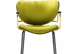 "furniture: ""CALIDA DINING"" THE METAL BASE HAS A MATTE BLACK LACQUER, WHILE THE STEEL ARMRESTS HAVE A POLISHED GOLD FINISH MATCHING THE METAL FERRULES. THE LIME GREEN NUBUCK LEATHER UPHOLSTERY ADDS A ZESTY ACCENT TO THIS SOPHISTICATED AND MODERN PIECE.. 