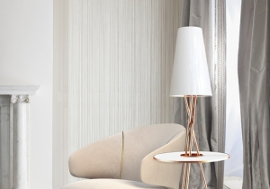 lighting: SOHO CONTEMPORARY FLOOR LAMP IS MADE OF BRASS, WHICH ELEGANTLY BRINGS THE 70'S DESIGN TO CONTEMPORARY LIVING SPACES.H: 155CM DIA.: 50CM | ARCHONTIKIS-CM
