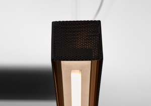lighting: URBAN LIGHTLINE SUSPENDED LAMP WITH DIRECT AND INDIRECT LIGHT. METAL STRUCTURE WITH LIGHT BURNISHED BRASS FINISH AND MATTE BLACK PERFORATED METAL LAMPSHADE | ARCHONTIKIS - VENICEM