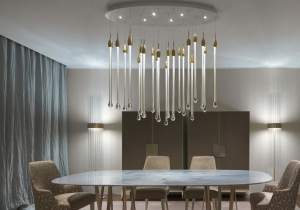 lighting: ALLURE:THE 22 VENETIAN CRYSTAL COLOR DROPS, POSITIONED AT DIFFERENT HEIGHTS, ARE MADE IN SOLID MURANO GLASS ENCLOSING PRECIOUS 24KT GOLD LEAF.23,1 W LED: 140 X 46 X | ARCHONTIKIS-PC