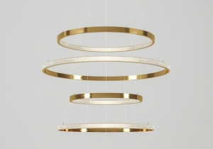 lighting: AURA: UP TO 12 TIERS WITH VARIOUS RING PROFILES. FULLY ADJUSTABLE DROP HEIGHT AND ANGLE. RINGS FROM 40-300CM IN DIAMETER. LIGHT CAN BE PLACED INTERNALLY OR EXTERNALLY OF THE RINGSFINISH: POLISHED, BRUSHED, ANTIQUED BURNISHED OR RAL PAINTED. | ARCHONTIKIS - CAMERON