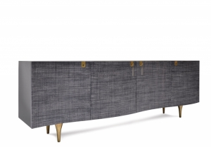 furniture: OSCILLATE SIDEBOARD,THIS ENCASEMENT OF THIS SIDEBOARD IS FINISHED IN A HAND POLISHED BLACK LACQUER. THE CURVED DOOR FRONTS ARE MANTLED IN A CHARCOAL COLOR RAFFIA FABRIC WHICH ARE ACCOMPANIED BY A SOLID BRASS KEY AND SIGNATURE TASSEL. W 242.57 X D 49.53 X | ARCHONTIKIS - SCALA