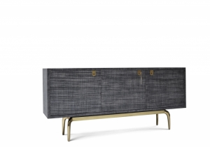 furniture: YUU RAFFIA SIDEBOARD - RAFFIA / BRASS,THIS ENCASEMENT OF THIS SIDEBOARD IS MANTLED IN A CHARCOAL COLOR RAFFIA FABRIC. THERE IS A SOLID BRASS KEY AND SIGNATURE TASSEL. THE INTERIOR IS LACQUERED WITH A NATURAL SOFT-GLOSS FINISH.W 182.88 X D 40.64 X H 83.82C | ARCHONTIKIS - SCALA