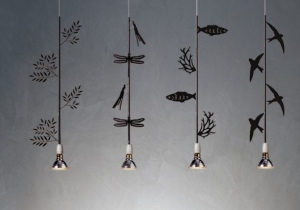 lighting: FLORA, FAUNA, ITTICA AND MIGRANTE LASER CUT METAL IN NICKEL PLATING FINISH (DARK GREY) WITH PORCELAIN SOCKET | ARCHONTIKIS - P.PRIVATA