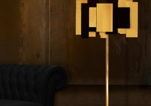 lighting: FO TAN CONTEMPORARY FLOOR LAMP, AN ASSORTMENT OF GOLD PLATED BRASS, GLOSSY AND MATTE LACQUERED ELEMENTS COMBINED WITH A STUNNING BLACK MARBLE BASE.H: 160CM | ARCHONTIKIS-CM
