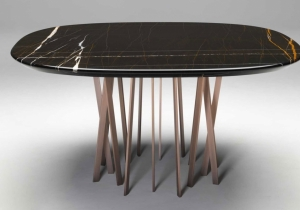 furniture: ´FOR HALL TABLE` MADE FROM PRECIOUS MATERIALS, THIS TABLE INTRODUCES AN AIR OF LUXURY. IT HAS A SQUARE TOP WITH ROUNDED CORNERS AND EDGES MADE OF FINE BLACK AND RUST-VEINED SAHARA NOIR MARBLE. L/W 140 X P/D 140 X H 73 CM | PDECA