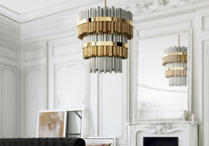 lighting: GRANVILLE CHANDELIER BORROWS THE DRAMATIC SPIRIT OF THE ISLAND AND THE SKYLINE OF VANCOUVER TO CREATE A GRANDIOSE LIGHT FIXTURE, PERFECT FOR EXPANSIVE SPACES. THE LAMP FEATURES 3 IMPOSING LAYERS OF TUBES IN GOLD PLATED BRASS AND NICKEL.D: 100CM H: 100CM | ARCHONTIKIS-CM