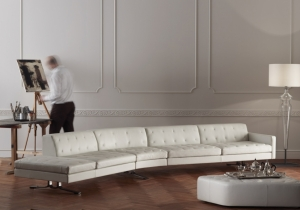 furniture: KENNEDEE JEAN-MARIE MASSAUD: A SOFA WITH A PERSONALITY THAT STANDS OUT FROM THE CROWD. INTERNATIONAL ELEGANCE. DYNAMIC AND WIDE-RANGING LINES. KENNEDEE IS A MODULAR SYSTEM WITH AN INFINITE NUMBER OF COMBINATIONS.THE DELICATE 'X' MOTIF IS HAND-SEWN. | POLTRONA FRAU