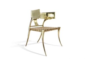 furniture: KLISMOS LOWBACK CHAIR - BRASS.HAND MADE LOW-BACK KLISMOS CHAIR MAKE FROM SOLID BRASS CASTINGS (MIRROR POLISHED).SIZE: W 62.9 X D 76.2 X H 81.3 CM