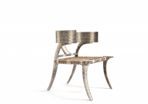 furniture: KLISMOS LB CHAIR - LIZARD SKIN,THIS VERSION IS MANTLED WITH LIZARD SKIN AND HAS A HAND WOVEN LEATHER-STRAPPING SEAT.W 66.04 X D 71.12 X H 82.55CM
