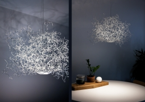 lighting: SIRSIMON FLOATS IN SPACE LIKE A THREE-DIMENSIONAL FREE SKETCH. | ARCHONTIKIS-LICHTLAUF