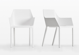 furniture: CHRISTOPH PILLET `MEM`CHAIR, WITH AN ARMREST IS MADE FROM REINFORCED POLYPROPYLENE WITH GLASS AND PRINT INJECTED INTO IT, GIVING GREAT RESISTANCE WITH AN ELEGANT DESIGN OF CLEVERLY ACCENTED ANGLES AND CURVES. | KRISTALIA
