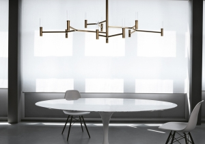 lighting: ROOTS CHANDELIER  DARK BURNISHED BRASS STRUCTURE. WHITE MURANO BLOWN GLASS DIFFUSER. 10X5W G9 LED 350LM 2700°K – DIMMABLE DIMENSIONS: L165CM, D 87CM, H 100CM | ARCHONTIKIS - VENICEM